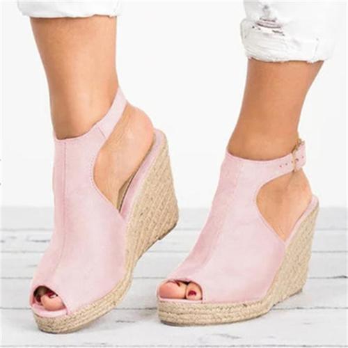 Casual Style Wedge Heel Peep Toe Buckle Up Sandals