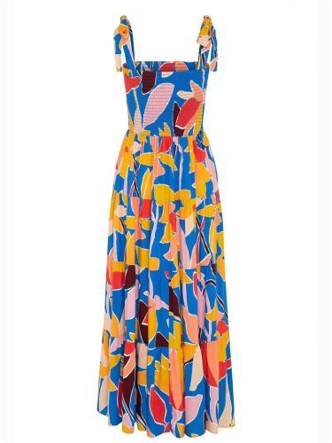 Summer Stylish Square Neck Print Strappy Dress