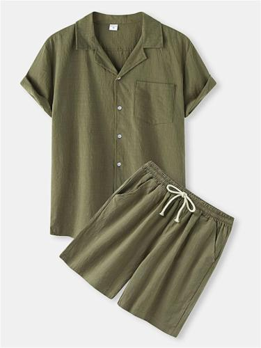 Mens Casual Comfy Cotton&Linen Short Sleeve Shirts+Shorts