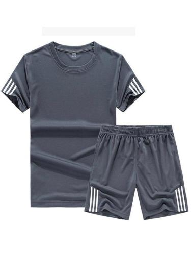 Mens Casual Loose Patchwork Gym Short Sleeve T-Shirts+Shorts