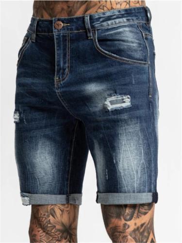 Mens Slim Fit Fashion Distressed Denim Knee Shorts