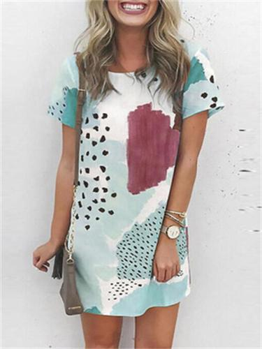 Summer Loose Retro Round Neck Short Sleeve Printed Pullover A-Line Dress