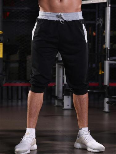 Mens Sports  Breathable Patchwork Ankle Shorts