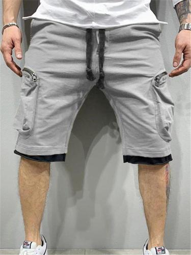 Mens Gym Comfy Patchwork Knee Shorts With Pockets