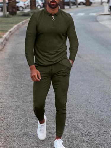 Mens Fashion Slim Fit Solid Color Shirts+Pants