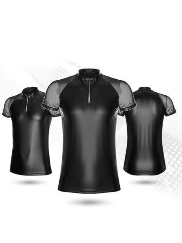 Men's Stand Collar Design High Quality Zipper Short Sleeve Soft Body Shaper