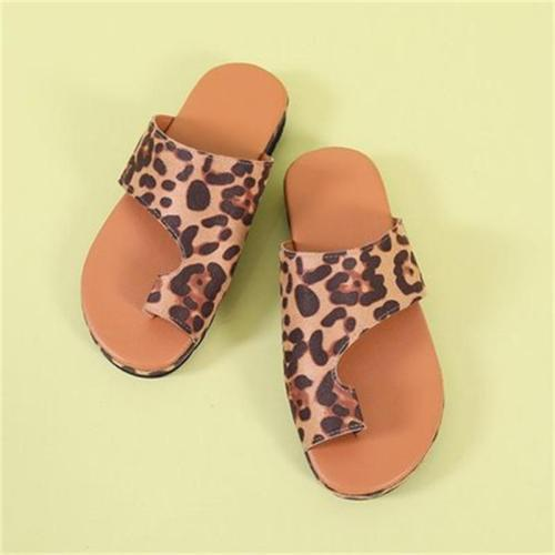 Comfy Slip-On Style Toe-Ring Flat Sole Print Sandals Slippers