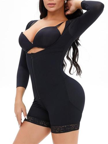 Adjustable Strap Design Zipper Long-Sleeved Lace Hem Shapewear