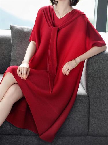 Elegant Loose Solid Color V-Neck Hooded Dress