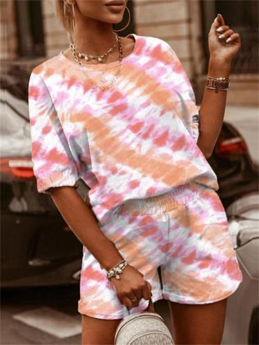 Summer Two-Piece Set Leisure Round Neck Print Top + Loose Shorts