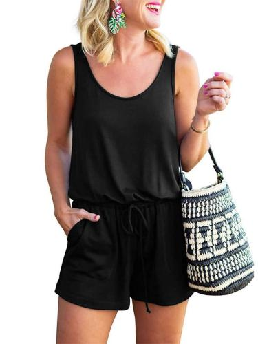 High Quality Solid Color Sleeveless T-Shirt + Lace Up Shorts
