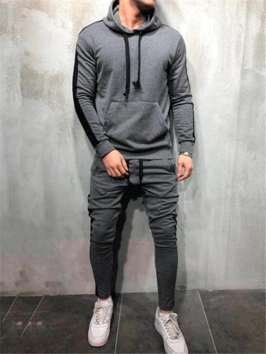 Mens Gym Patchwork Casual Drawstring Hooded Hoodies+Pants