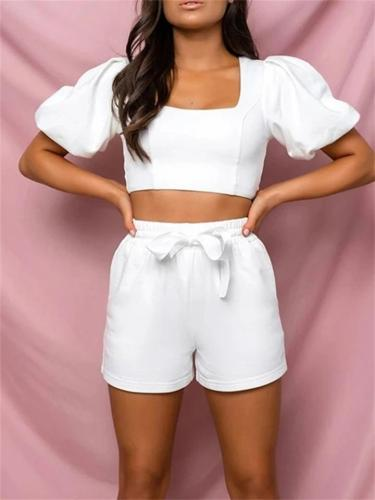 Elegant Solid Color Pleated Sleeve Top + Lace Up Shorts