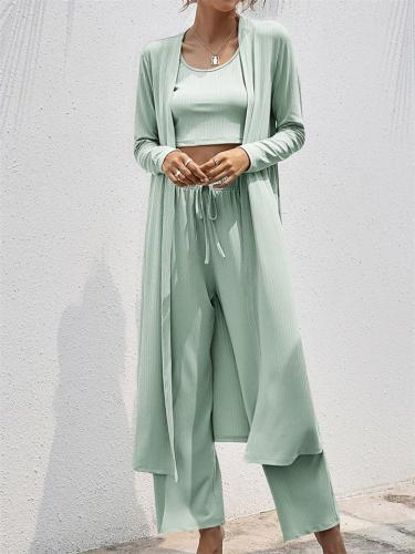 Three-Piece Set Casual Style Solid Color Coat And Vest  + Wide Leg  Pants