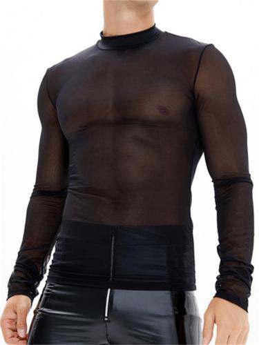 Men's Breathable Mesh Design Crew Neck Long-Sleeved Body Shaper