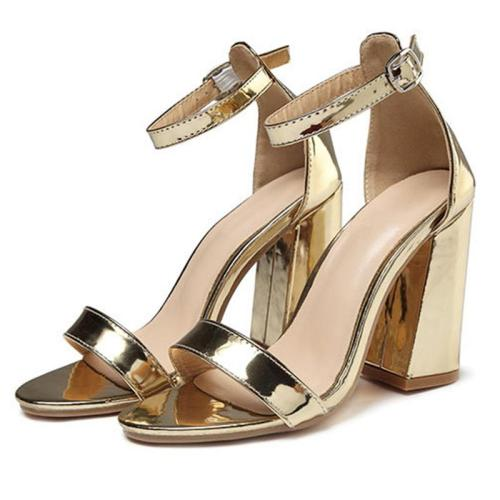 Women's Ankle Buckle Design Solid Color Chunky Heel Sandals