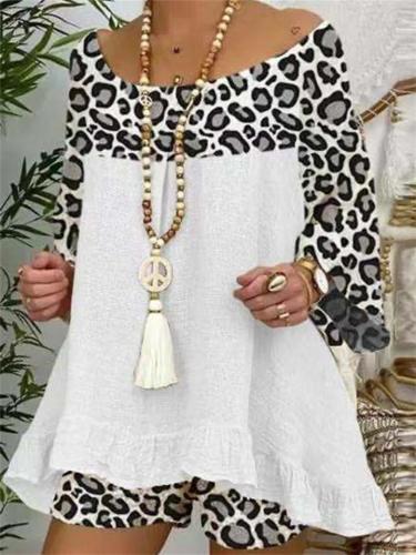 Summer Fashion Loose Leopard Print Long Sleeve T-Shirt + Comfy Shorts