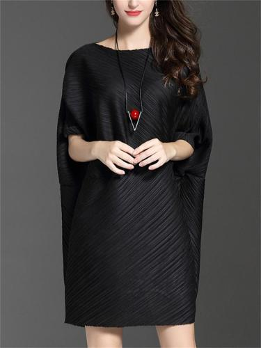 High Quality Solid Color Round Neck Bat Sleeve Dress