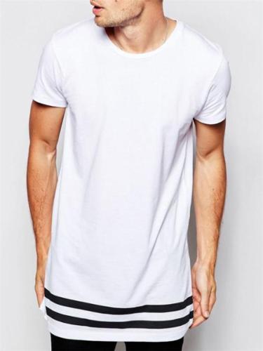 Mens Fashion Print Hem Patchwork Short Sleeve T-Shirts