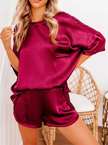 Comfy 2-Piece Set Round Neck Short Sleeve Pocket Top + Elastic Waist Shorts