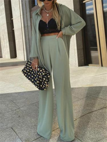 Comfortable Two-Piece Set Sun Protection Long-Sleeved Top + Wide-Leg Pants