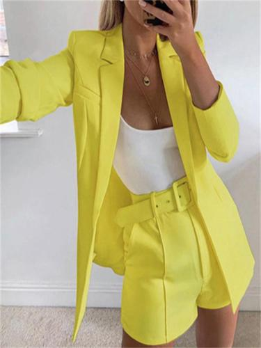 Elegant Casual Solid Color Long-Sleeved Lapel Coat + Loose Shorts