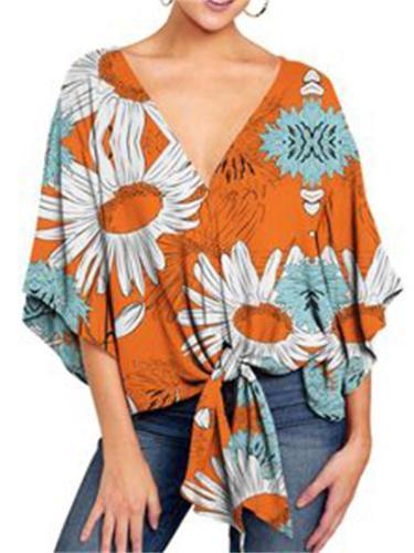 Women's V-Neck Short-Sleeved Printed Blouse