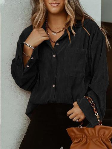 Women's Solid Color Simple Style Long-Sleeved Blouse