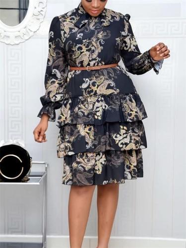 Women's Digital Printed Long Sleeve Zipper Dress