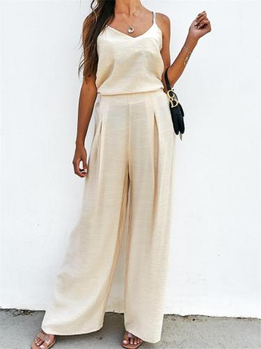 Casual Sleeveless Solid Color Spaghetti Strap Top + Loose Pants