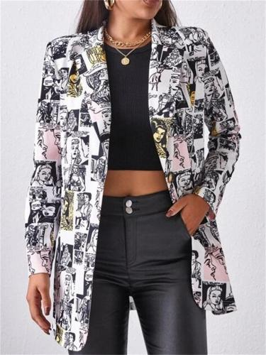 Women's High Quality Street Style  Long Sleeve Printed Coat