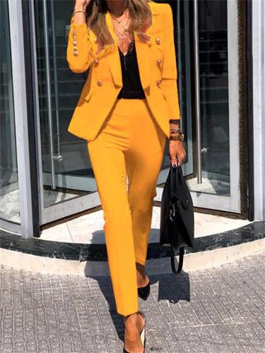 Leisure Two-Piece Set Long-Sleeved Solid Color Coat + Straight-Leg Pants