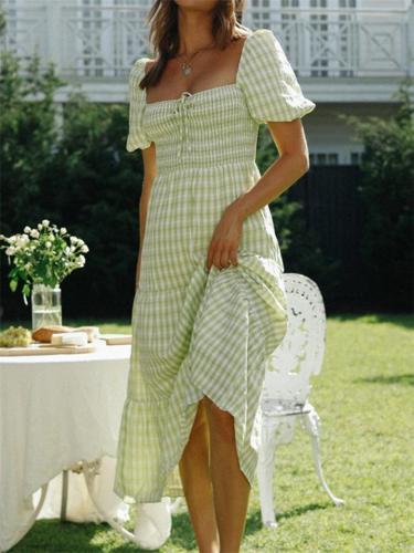 Women's Fashion Plaid Design Square Neck Puff Sleeve Long Dress
