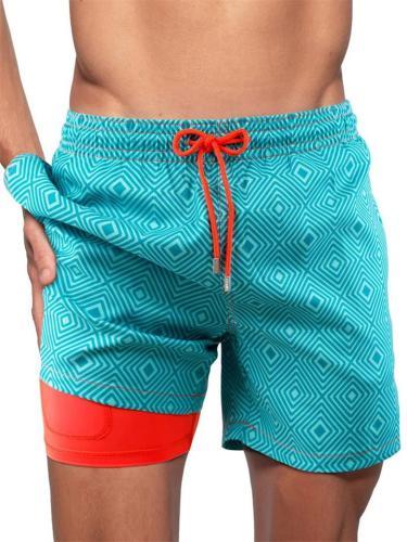 Men's Double-Layer Design Beach Sports Print Lace-Up Shorts