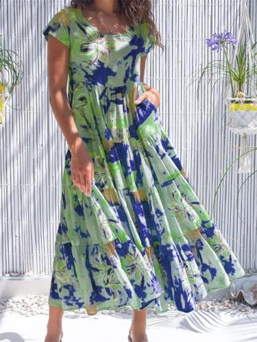 Elegant Printed Short Sleeve Round Neck High Waist Dress