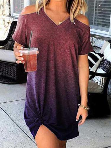 Summer Loose Gradient Short-Sleeved Dress