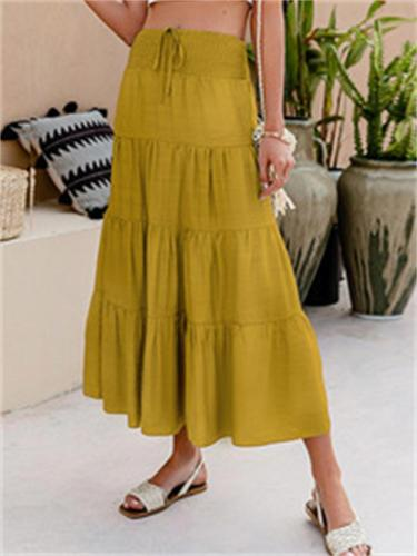 Summer Casual Lace-Up Solid Color A-Line Skirt