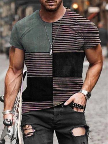 Mens Loose Casual Patchwork Short Sleeve Hipster T-Shirts