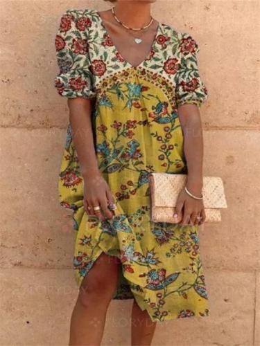 Summer Casual Floral Print V-Neck Short-Sleeved Dress