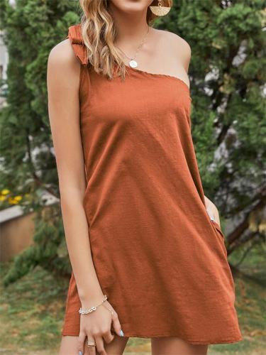 Women's VintageOblique Shoulder Strap Design Solid Color Dress
