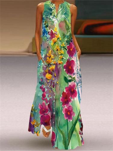 Summer Retro Print Sleeveless V-Neck Dress