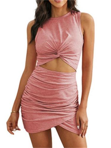 Sexy High Quality Solid Color Sleeveless Dress