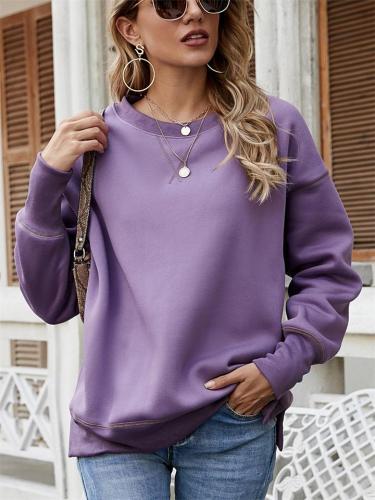 Women's Fashion Split Hem Round Neck Pullover Sweater