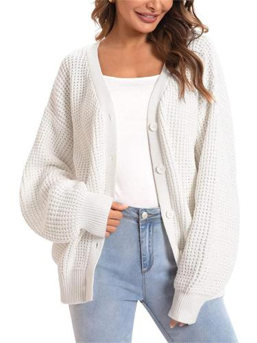 Loose Fit Solid Color Button Long Sleeve knitted Cardigan