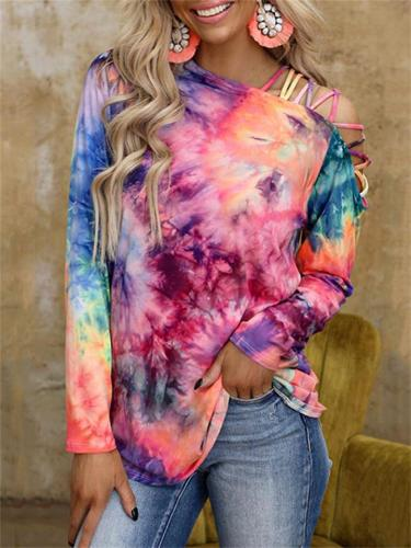 Sexy Loose Tie-Dye Printed Long-Sleeved Off-Shoulder T-Shirt
