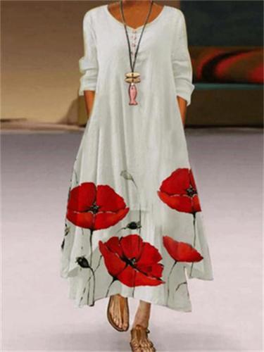 Women's Loose Printed Long Sleeve Irregular Hem Dress