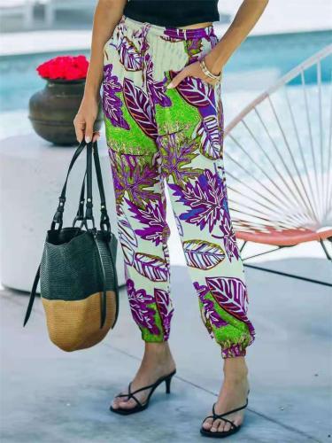 Distinctive Casual Printed Mid-Waist Pants