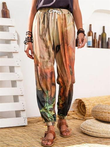 Women's Lace-Up Design Printed Sports Casual Harem Pants