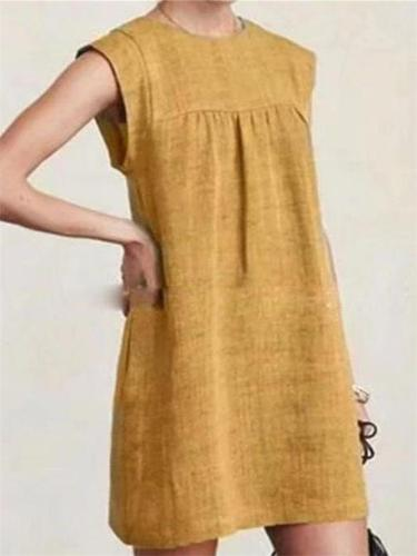 Summer Loose Round Neck Sleeveless Solid Color Cotton And Linen Dress