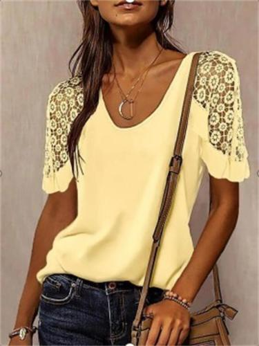 Comfy Loose Lace Short-Sleeved Solid Color T-Shirt